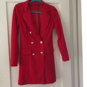 Red Suit Jacket Mini Dress